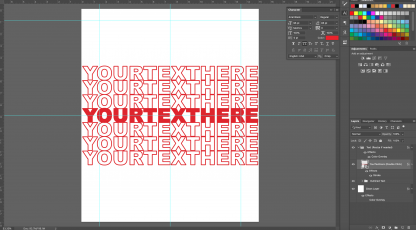 Repeating Red Text Photoshop Design Template