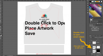 Screenshot of a Photoshop smart object on a Printful hoodie template