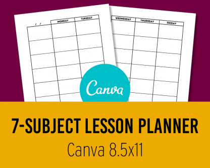 7-Subject Lesson Planner Canva Template 8.5x11 Editable