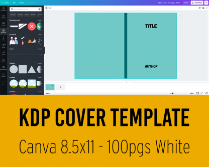 KDP Cover Template for Canva - 8.5x11 inches - 100 pages white paper