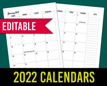 2022 Monthly Calendars - Editable KDP Interior