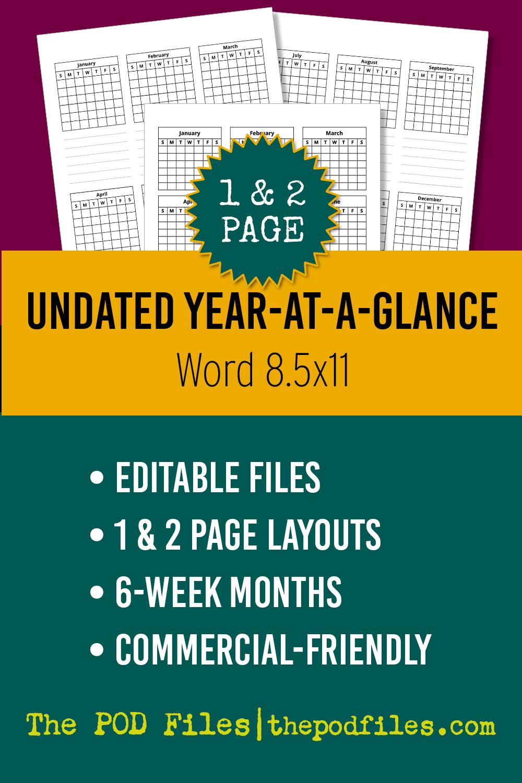 Editable year-at-a-glance calendar template for KDP.
