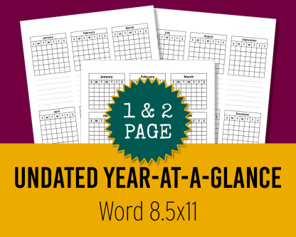 Undated Year-At-A-Glance Calendars for KDP - Editable Word Files