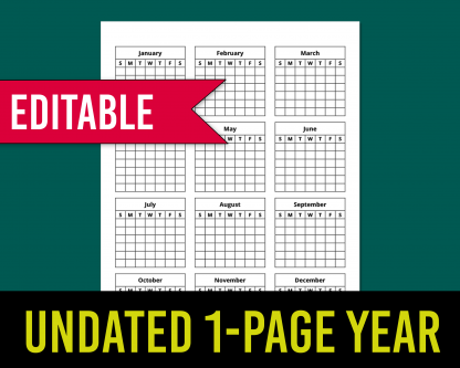 1-page year-at-a-glance calendar template for KDP