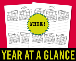 Free Calendar Template - Year At A Glance