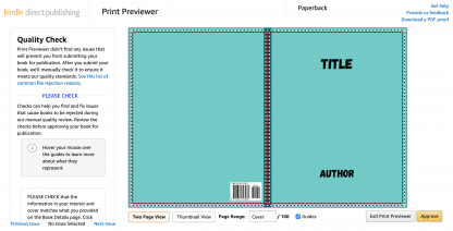 KDP Cover template passing the KDP previewer checks