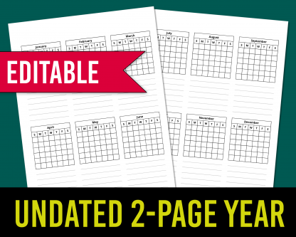 2-page year at a glance template for KDP