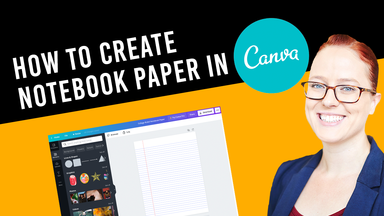 How to create notebook paper in Canva for KDP Low-Content Books