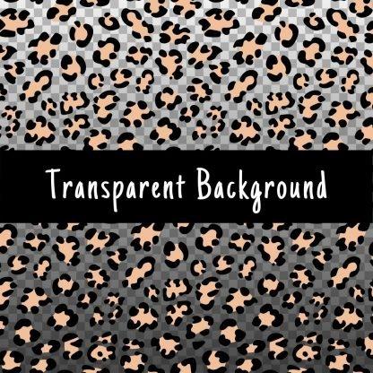 Seamless leopard pattern with a transparent background. Black spots beige center.
